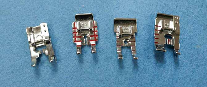 "Various ¼"" presser feet for the Opal 690Q"