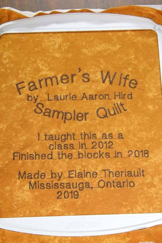The final quilt label