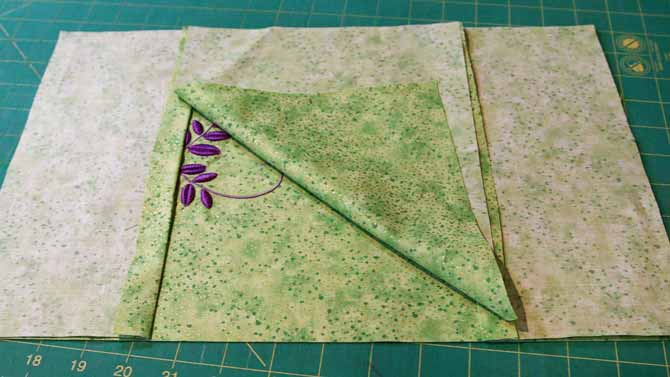 The outer cover and the inside of the journal covered are layered and ready to sew