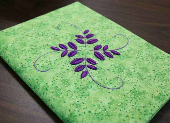 Finished journal cover with Thread Velvet embroidery design