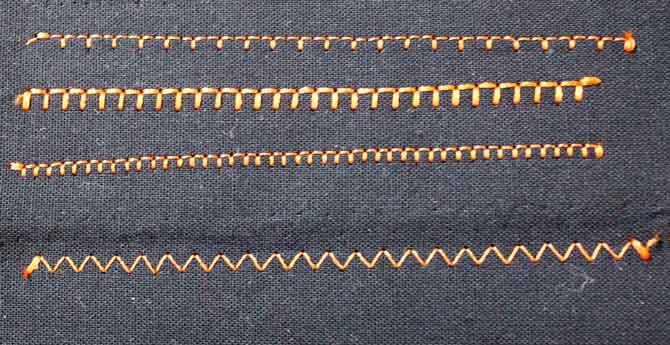 Three different types of blanket stitch and the zig zag stitch