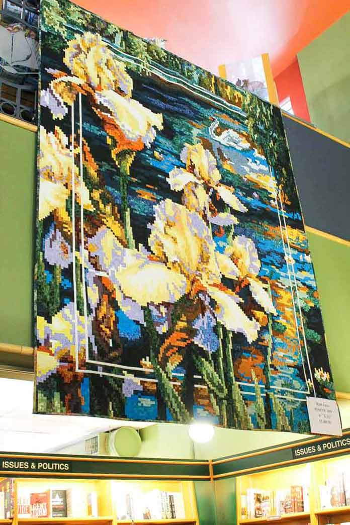 Stunning quilt hanging at McNally Robinson and yes that is a lot of pieces