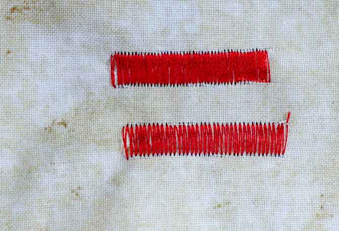 Top sample shows a tighter density (shorter stitch length) that the sample on the bottom