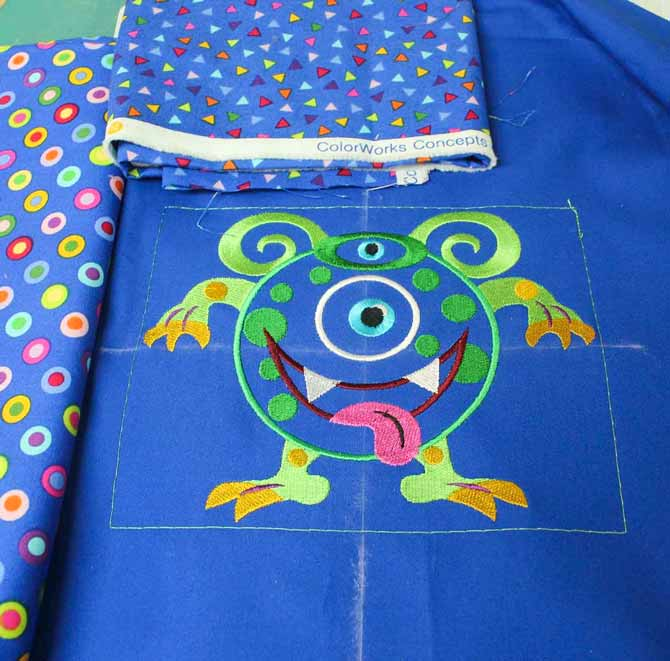 Fabric to make a zippered tote with my embroidery design
