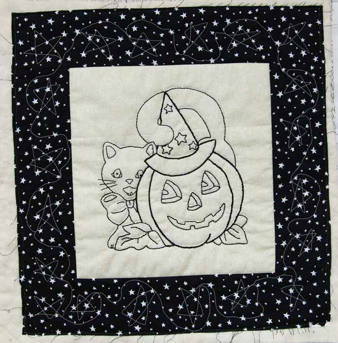 "Lines of embroidery are highlighted by ""stitch in the ditch"" quilting with invisible thread."
