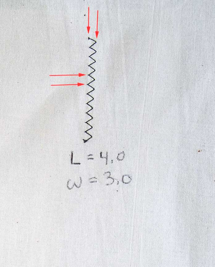 Stitch width and stitch length are indicated by arrows