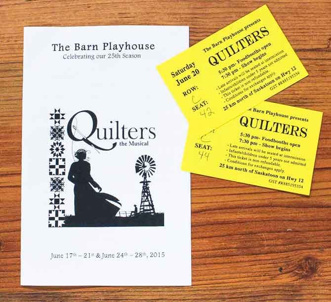 Playbill and tickets from Quilters The Musical