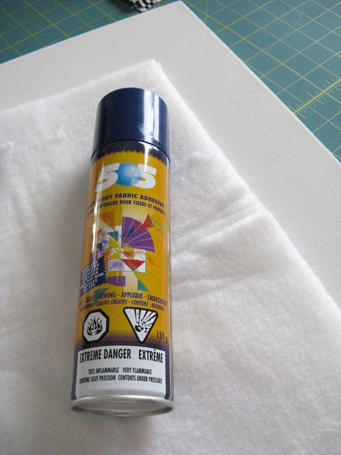 Spray basting with 505 is the best way to make this step work. It'll keep the layers from shifting as you staple the completed quilt to the artist's canvas.