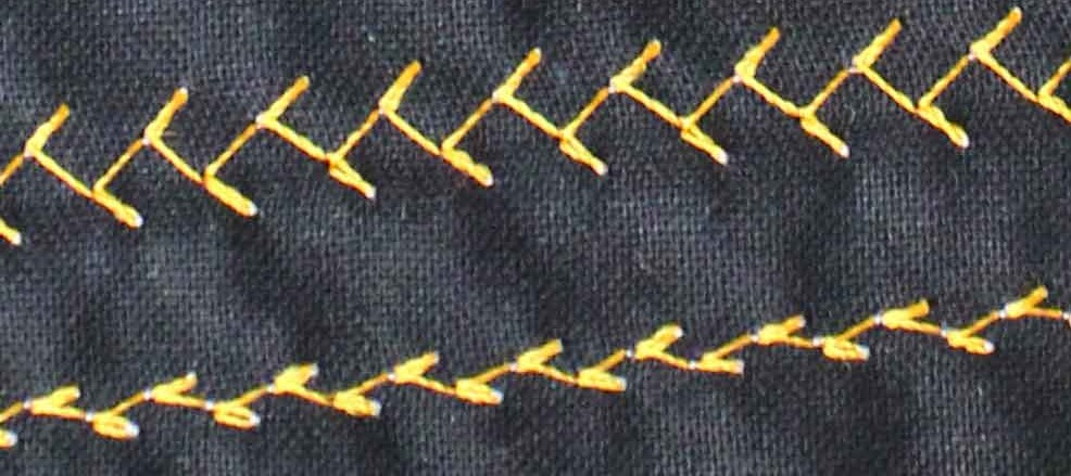 Close up of sewing machine stitches on fabric