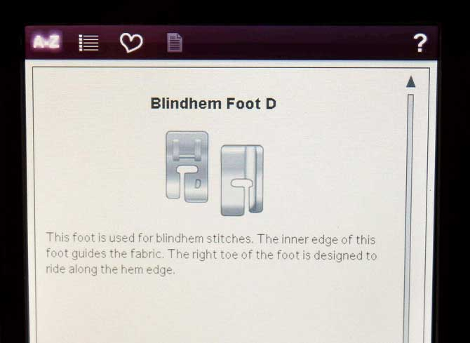 "Screenshot of ""Blind hem Foot D"""