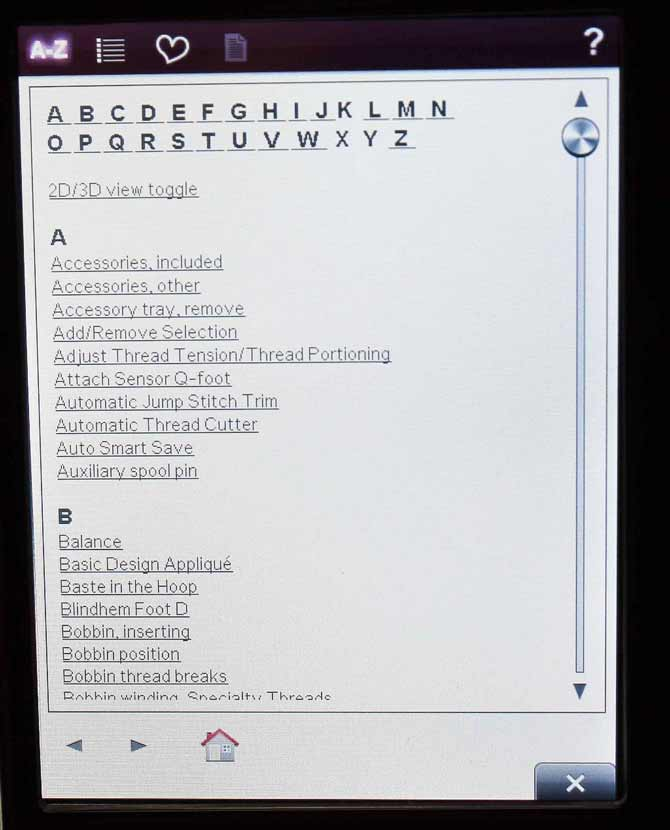 Index of the built-in Information menu showing the Help topics in alphabetical order