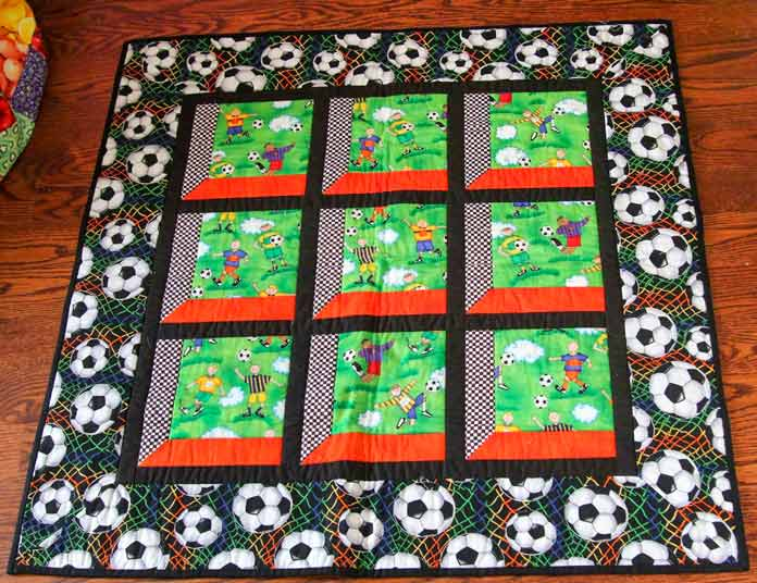 Wallhanging with soccer novelty prints