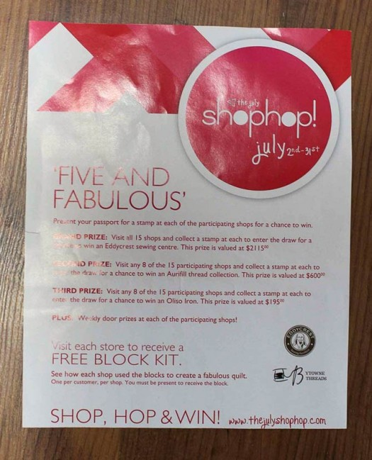 Southern Ontario July Shop Hop brochure