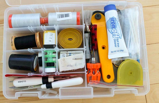 Well stocked supply box for sewing while away