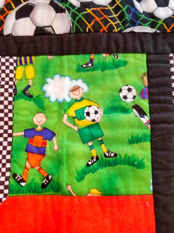Unquilted block with soccer players
