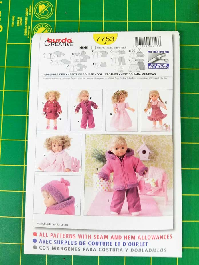"Doll clothes pattern for an 18"" doll"
