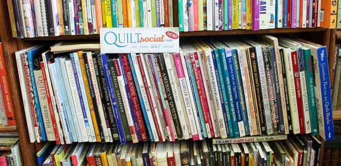 Browsing the used book store for quilting books