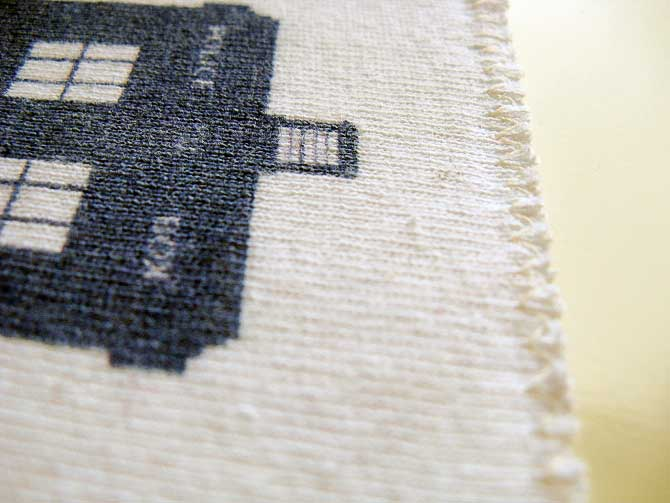 Finish the edges with a zigzag stitch on the interfaced T-shirt design, as your special shirt becomes wall art.