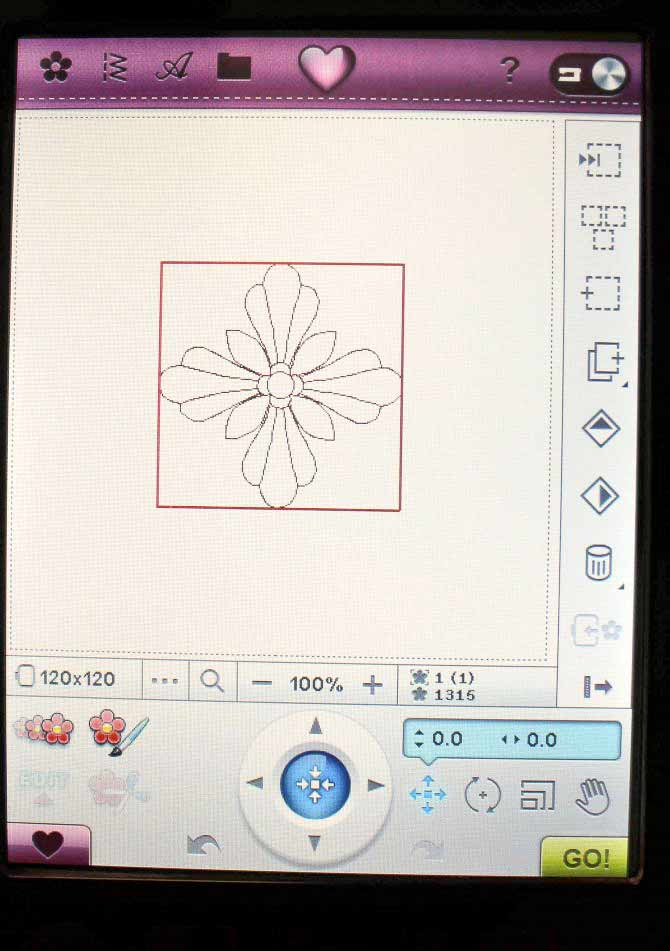 Embroidery design on the Embroidery Edit screen