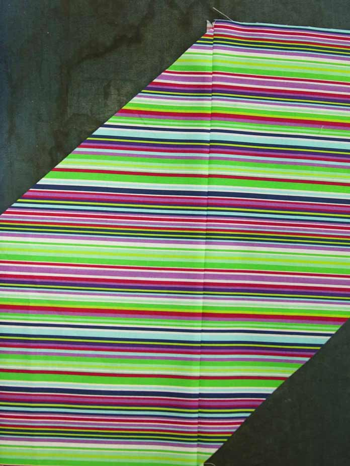 Almost perfectly matched join of the striped fabric