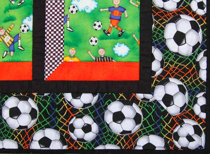 Close up of the soccer quilt