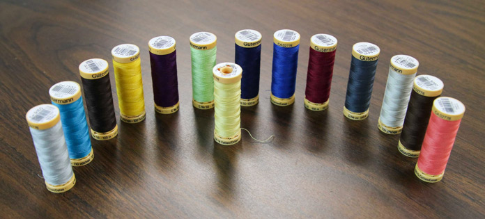 A few of the wide range of colors of Gütermann threads available for thread that is excellent for machine quilting.
