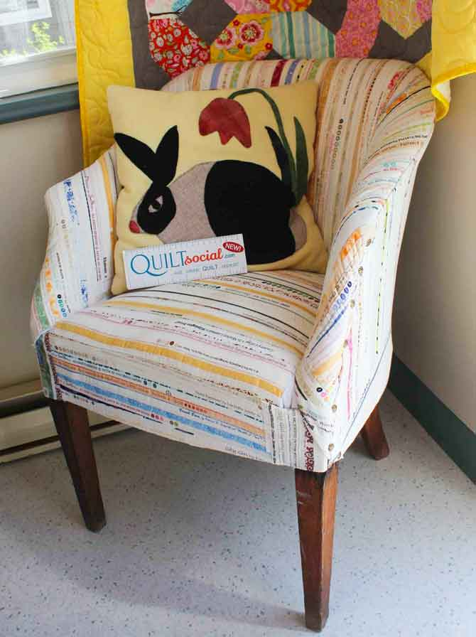 Gorgeous chair upholstery fabric made from selvedges