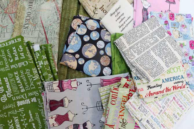 Next up - choosing the fabrics to use for the collage. A LOT of fun to shop in Mom's stash.