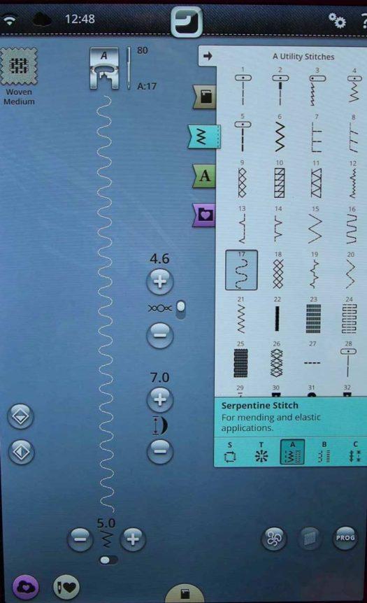 Machine settings for the serpentine stitch