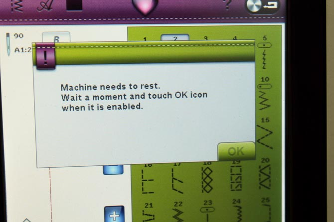 Pop up message - Machine needs to rest
