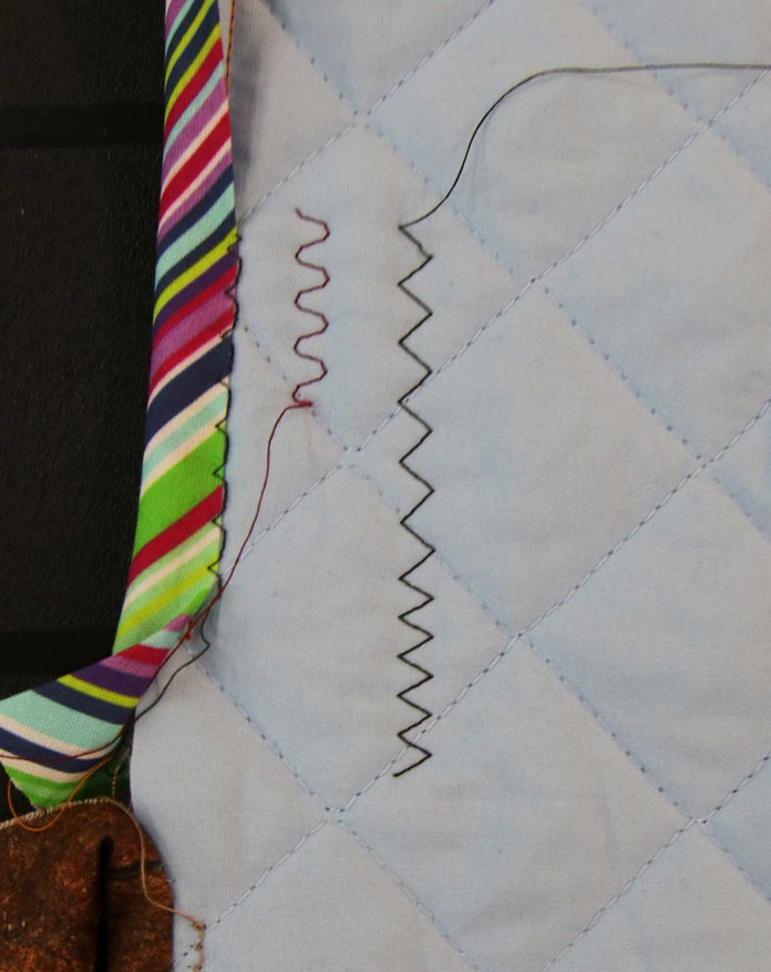 A small scrap of quilted fabric to practice various stitches