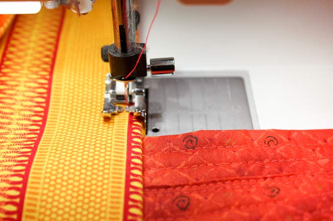 Top stitching through many layers