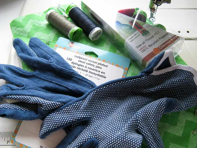 Tools used in free motion quilting include quilting gloves to provide a good grip on the fabric.