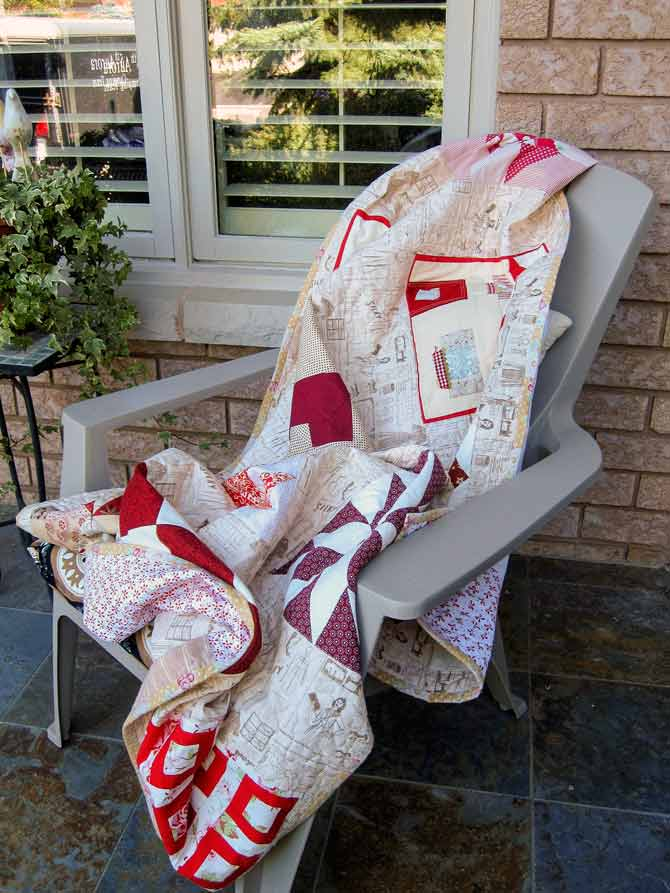 A cozy throw warms chillin' time on the front porch.