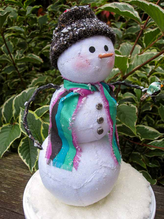 Percy is a snowman created using paper piecing.
