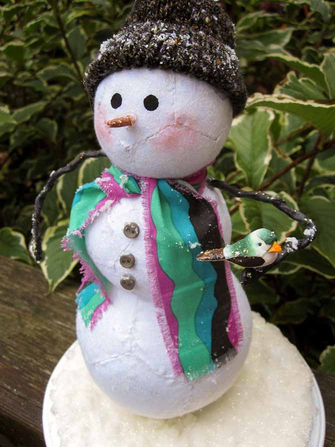 It's cold standing outside all winter long. Give your snow person some glowing red cheeks using a dry paint brush and some pink paint.