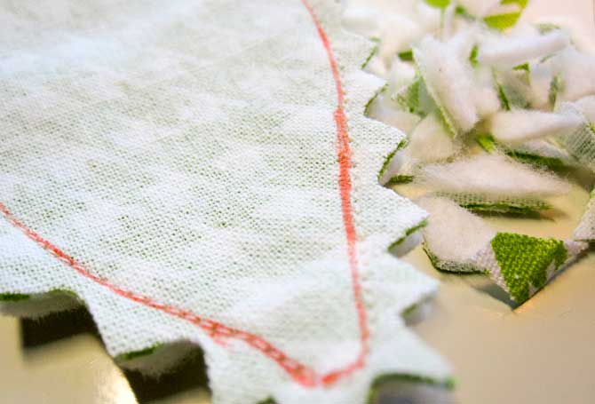 Clip curves along the leaves before turning them. This will make the seam smoother and reduce overall bulk.
