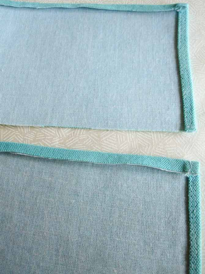 "The canvas cord channel pieces are hemmed on three sides, using a scant 1/8"" hem."