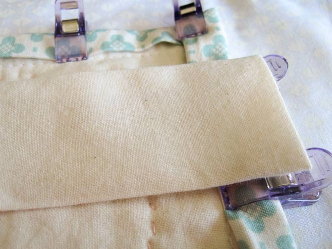 Create a muslin sleeve to hold the hanging dowel in place.