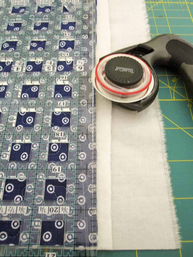 After the FMQ is finished, you'll need to trim the quilted fabric.