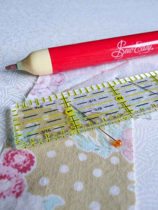 Join the binding strips together by sewing a diagonal seam. Use the marking pencil to make sure this seam is accurate.