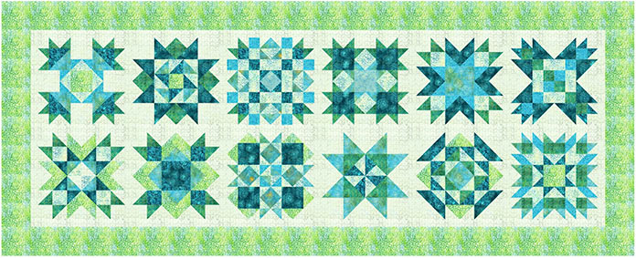 Spectrum Quilt-A-Long bed runner design featuring Little Girl in a Blue Armchair by Anthology Fabrics.