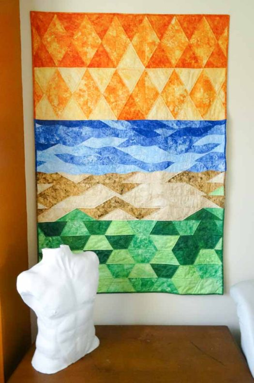 Impressionistic art quilt - the quilting brings out the design elements created with Sew Easy Triangle and Half Diamond rulers and the Komfort Kut Slash n Circle ruler.