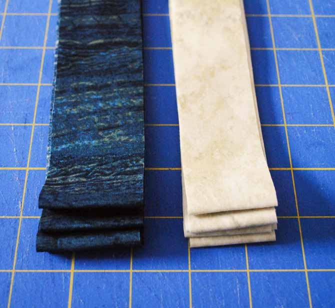 The two strips for the flanged binding