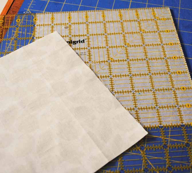 "Cut one 8"" square of fabric and one 8"" square of fusible interfacing"