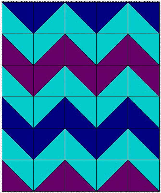 Quilt top design using half square triangles in chevron pattern.