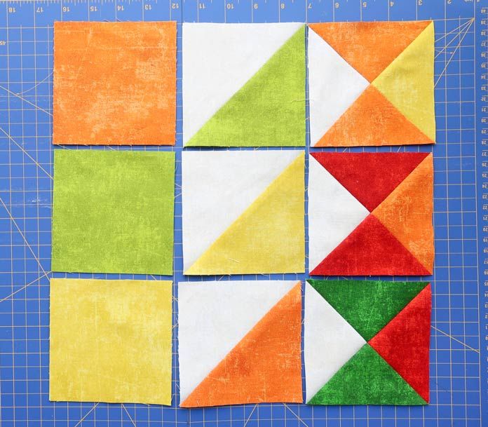 Samples of the different units that will be used to make the quilt blocks.