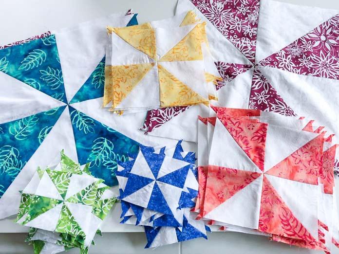Pinwheel block created using 3 technique.