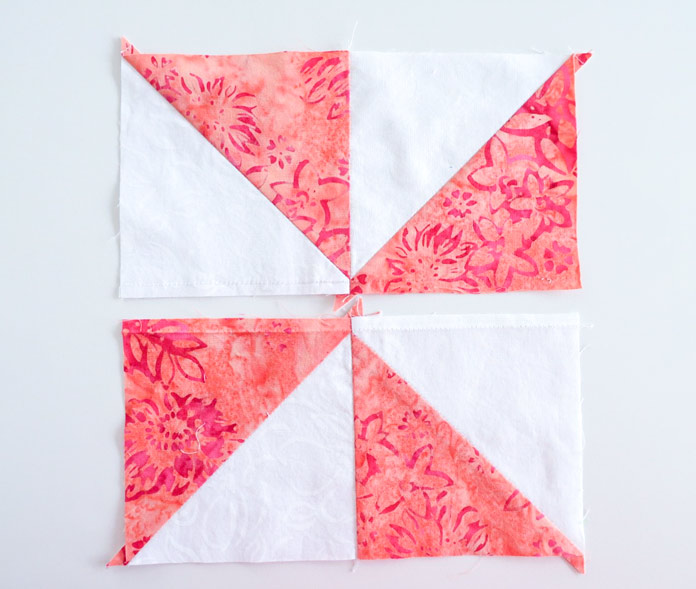 Sew 2 Half Square Triangle square together to make a unit and repeat.