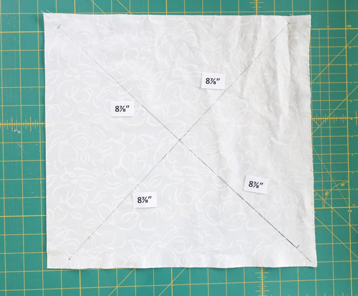"""Diagonal lines are twice the length of the size of the unfinished of the 8⅞"""" block."""